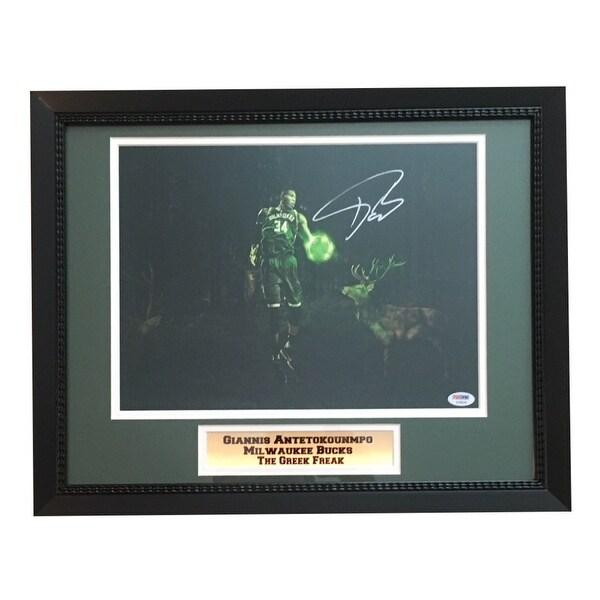 1cbdc69199d Giannis Antetokounmpo Greek Freak Autographed Milwaukee Bucks Signed Framed  11x14 Basketball Photo