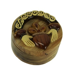 Hand Carved Wooden Claddagh Ring Trinket Puzzle Box - 2.5 X 4.25 X 4.25 inches
