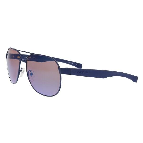 ffc25a26d Shop Lacoste L186S 424 Blue Matte Modified Rectangle Sunglasses - 57 ...