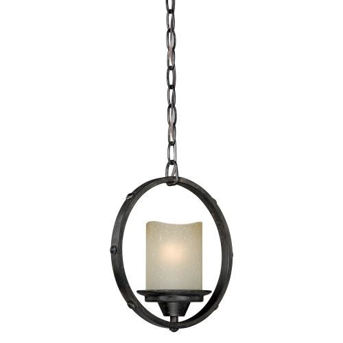 Vaxcel Lighting P0159 Halifax Single Light Pendant with Cylinder Shaped Frosted Glass Shade
