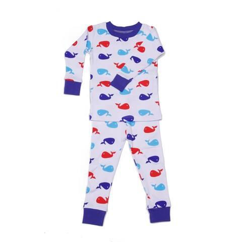 New Jammies Little Boys Blue Printed Cotton 2 Pc Sleepwear Set 2T-7