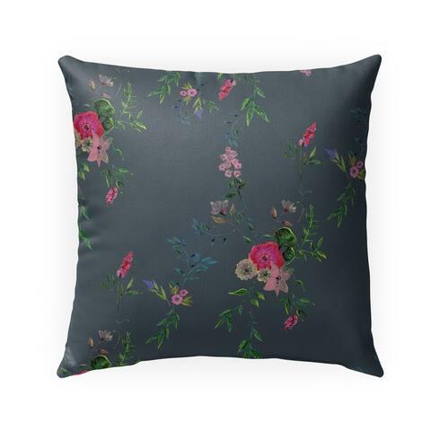FLORAL DARK GREY Indoor-Outdoor Pillow By Anne Cote