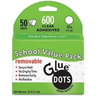 "Glue Dots .5"" Removable Dot Sheets Value Pack-600 Clear Dots"