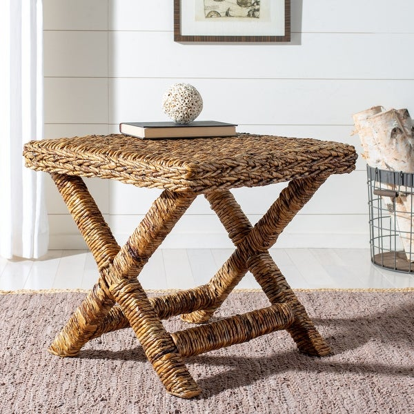 """Safavieh Manor Natural Wicker X-Bench - 22"""" x 22"""" x 19.5"""". Opens flyout."""