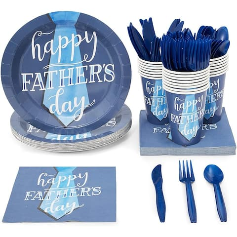Serves 24 Happy Father's Day Party Supplies Paper Plates Napkins Cups Best Dad