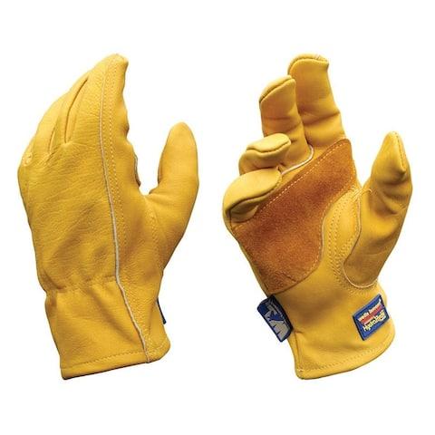 Wells Lamont 1168L Heavy Duty Men's Work Gloves, Large, Gold, Cowhide Leather
