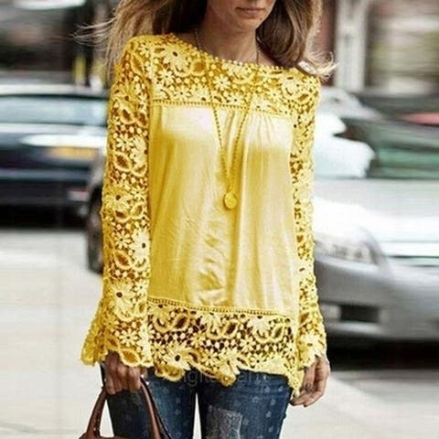 New Fashion Women Casual Sexy Chiffon Shirt Long Sleeve Round Neck Lace Stitching Hollow Floral Crochet Solid Tops Blouse