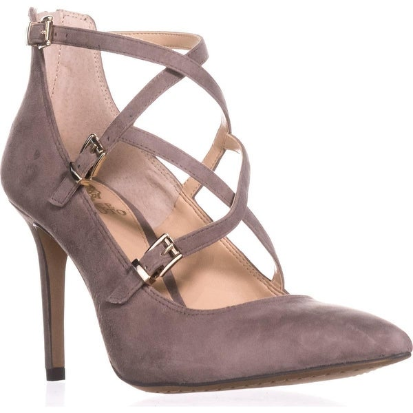 Vince Camuto Neddy Multi Strap Pointed Toe Dress Heels, Stone Taupe Suede