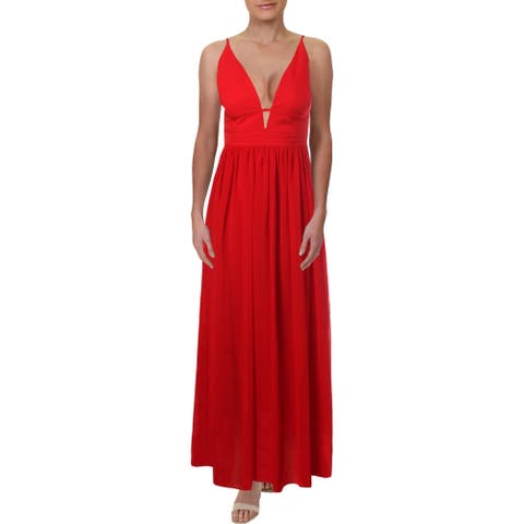Aqua Women's Flowy Grecian Full Length Sleeveless Plunging V-Neck Gown - Red