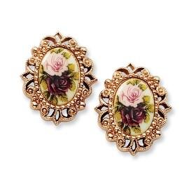 Rosetone Pink & Purple Acrylic Beads Dangle Earrings