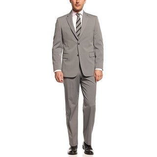 Jones New York Graham 2 pc Suit 42 Short 42S Silver Grey Striped Pants 35W