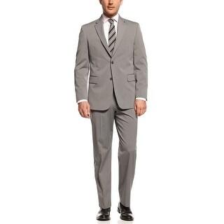 Jones New York Graham 2 pc Suit 42 Short 42S Silver Grey Striped Pants 35W