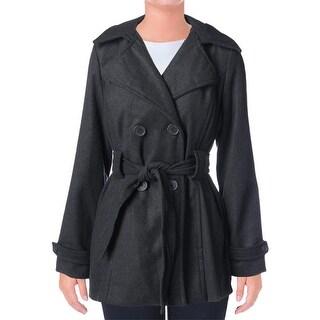 JouJou Womens Wool Blend Double Breasted Pea Coat - L