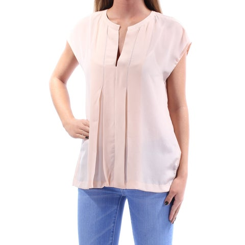 LUCKY BRAND Womens Pink Pleated Cap Sleeve V Neck Blouse Top Size: XS