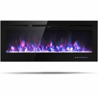 Gymax 50'' Electric Fireplace Recessed and Wall Mounted 750W/1500W W/ Multicolor Flame