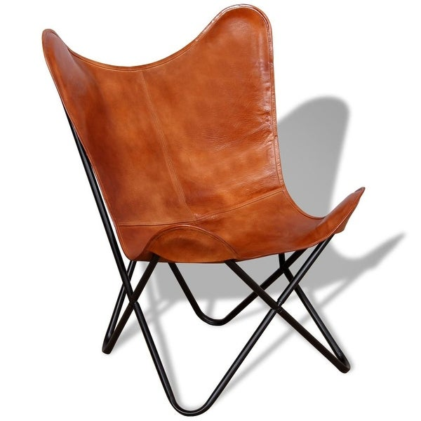 vidaXL Butterfly Chair Brown Real Leather. Opens flyout.
