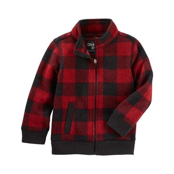 41003fdb94d1 Shop OshKosh B gosh Baby Boys  Red Check Sweater Fleece Jacket- 18 ...