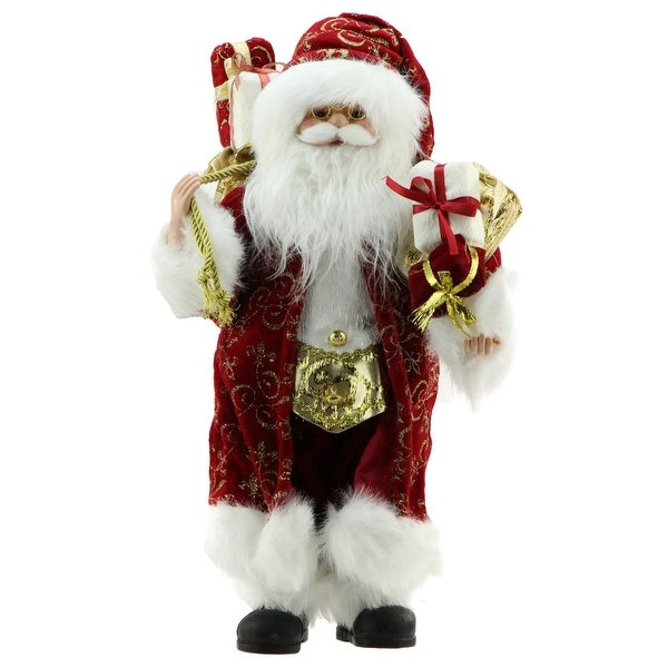 """16"""" Standing Santa Claus in Red and Gold Robe with Gifts Christmas Figure"""