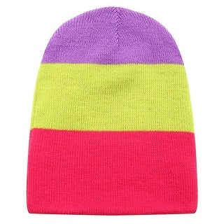 Richie House Boys Purple Yellow Pink Striped Knit Unlined Cap