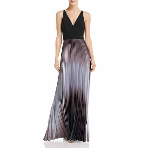 Aqua Womens Evening Dress Satin Pleated - Black Silver