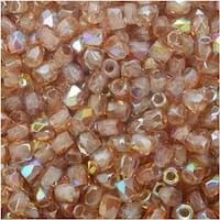 True2 Czech Fire Polished Glass, Faceted Round Beads 2mm, 50 Pieces, Crystal Brown Rainbow