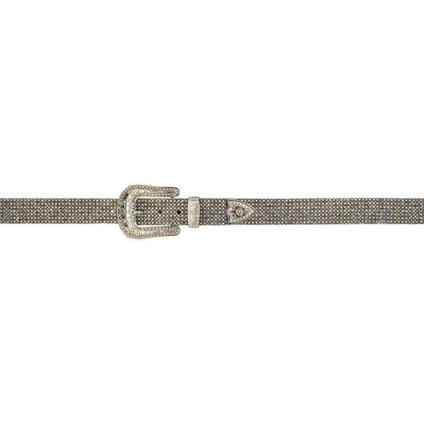 Angel Ranch Western Belt Womens Mesh Crystals Leather Black Gold