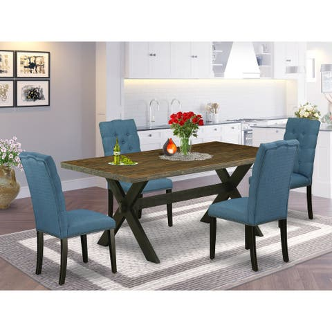 Dining Table and Linen Fabric Parson Chairs with Nail Heads and Button Tufted Chair Back (Chairs and Bench Option)