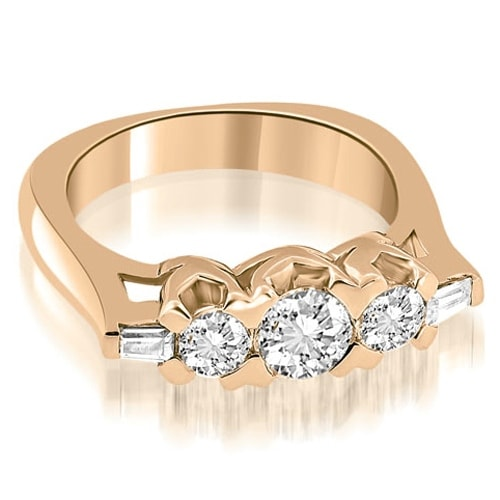 1.25 cttw. 14K Rose Gold Round and Baguette Cut Diamond Wedding Band
