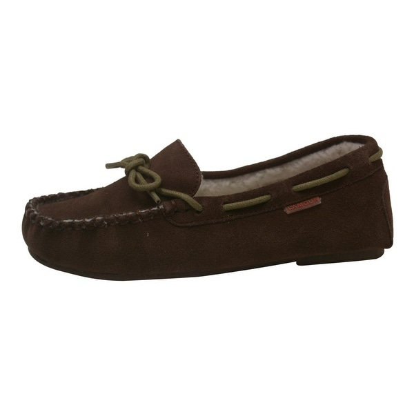 Shop L Amour Girls Brown Suede Moc Toe Stitch Bow Detail Loafers 11-4 Kids  - Free Shipping Today - Overstock.com - 25600184 3519602dbd6