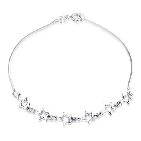 Patriotic Stars Rock Star Chain Charm Bracelet 925 Sterling Silver