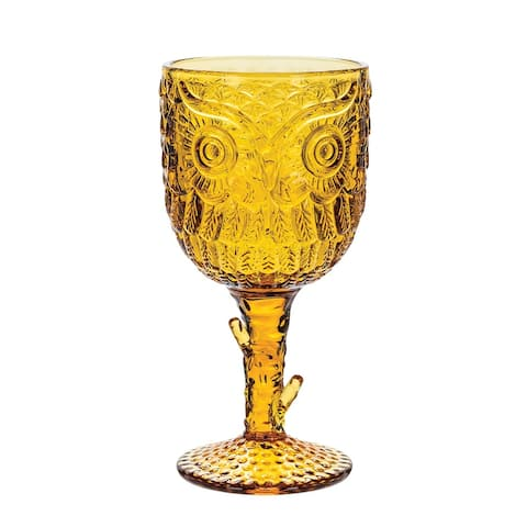 Owl Pressed Wine Glass - Amber Color Stemware, Beverage Cup Holds 12 Ounces - Yellow - 7 Inch