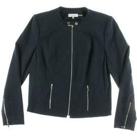 Calvin Klein Womens Mandarin Collar Solid Jacket - 16