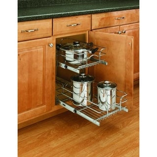 "Rev-A-Shelf 5WB2-1222 5WB Series 12"" Wide by 22"" Deep Two Tier Pull Out Base Cabinet Wire Basket Organizer - N/A"