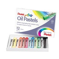 Pentel Oil Pastel Set, 5/16 x 2-7/16 Inch, Assorted Colors, Set of 12