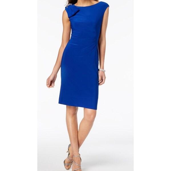 Jessica Howard Blue Womens Size 6 Embellished Bow Sheath Dress