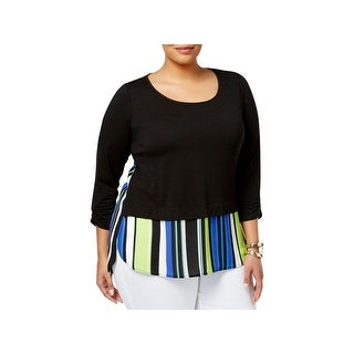 NY Collection Womens Plus Blouse Striped Trim Scoop Neck