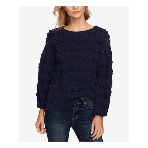 CECE Womens Navy Striped Boucle Knit Long Sleeve Jewel Neck Sweater Size: L