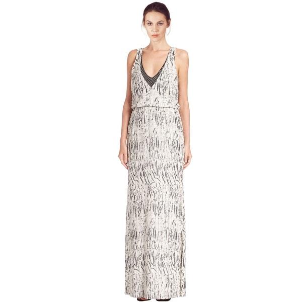 Shop Parker Black Zebra Print Embellished Arwen Blouson Evening Gown