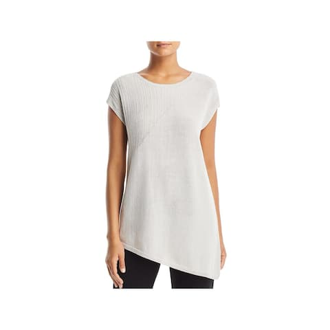 Eileen Fisher Womens Tunic Top Round Neck Short Sleeves