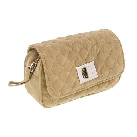 Scheilan Camel Suede Quilted Boxy Crossbody Bag