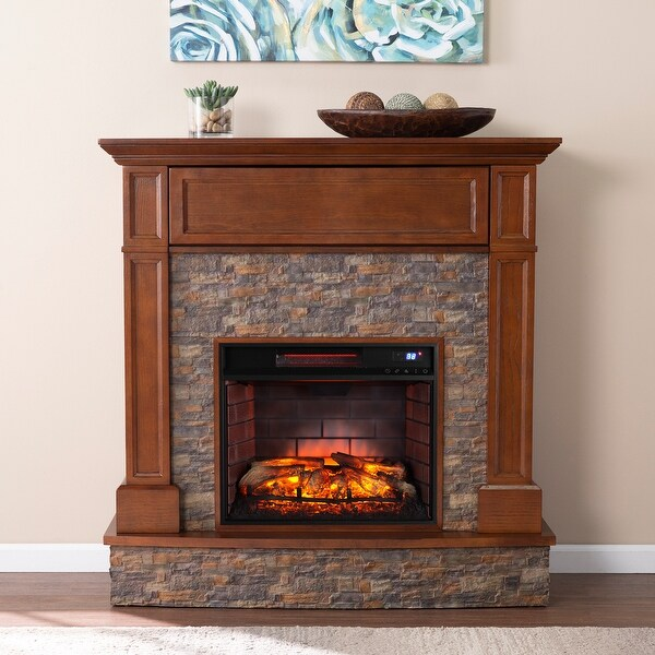Copper Grove Ashby Traditional Brown Wood Electric Fireplace