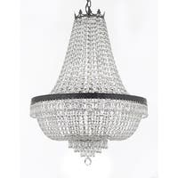 Swarovski Crystal Trimmed French Empire Chandelier  With Dark Antique Finish - Clear
