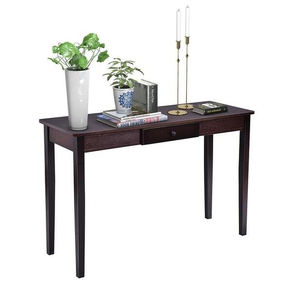 Costway Console Table Entry Hallway Entryway Side Sofa Accent Table Drawer Wood - Dark Walnut