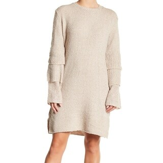 Solutions Beige Women's Size Medium M Tier-Sleeve Ruffle Sweater Dress