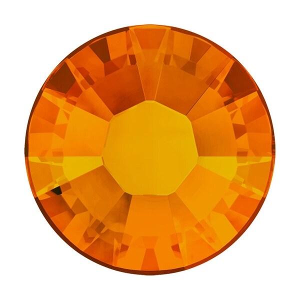 Swarovski Elements Crystal, Round Flatback Rhinestone Hotfix SS16 3.8mm, 50 Pieces, Tangerine