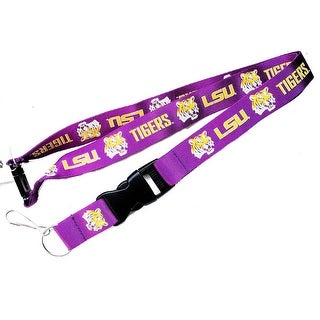 LSU Tigers Clip Lanyard Keychain Id Ticket Holder NCAA - Purple