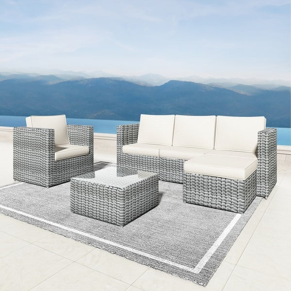 Corvus Treitz 6 Piece Outdoor Wicker Sectional Deep Seating Sofa Set with Glass Top. Opens flyout.