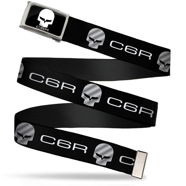 C6R Jake Skull Fcg Chrome C6 Racing Logo Repeat Black Silver Webbing Web Belt