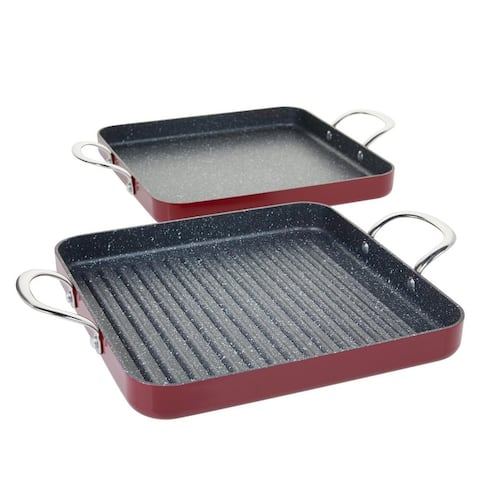 Curtis Stone Dura-Pan Nonstick Square Grill Pan and Griddle Pan Model 672-799