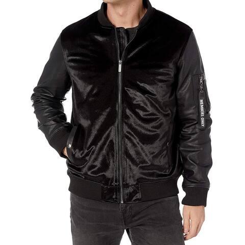 Members Only Mens Jacket Black Size XL Velvet Zip Flight Bomber